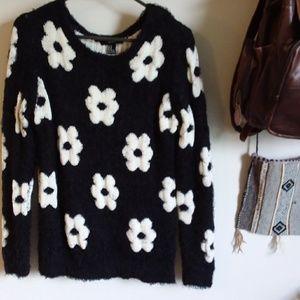 Ladies black and white crew neck sweater